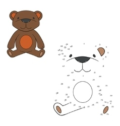 Connect the dots game bear vector