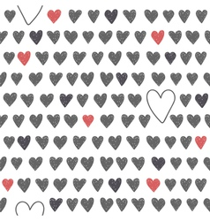 Cute seamless pattern with grey and red hearts vector image
