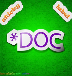 Doc file extension icon sign symbol chic colored vector