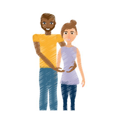 drawing couple romantic mixed race vector image