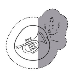 Figure trumpet instrument with notes music icon vector
