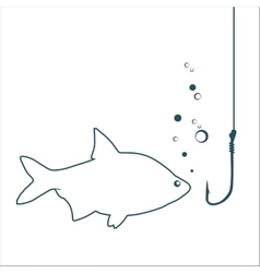 Fish looking on a hook vector image vector image