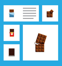 Flat icon cacao set of dessert bitter chocolate vector