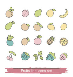Fruits and berries line icon set fruits and vector