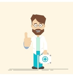 Happy doctor with suitcase in hand Man showing vector image vector image