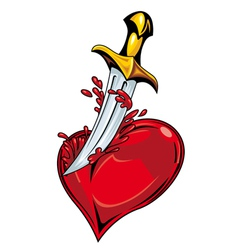 heart with sword vector image vector image