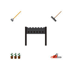 icon flat farm set of rake brazier hoe and other vector image vector image