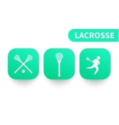 Lacrosse icons on green shapes vector