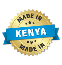 Made in kenya gold badge with blue ribbon vector