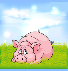 Pig cartoon laying on green grass - vector