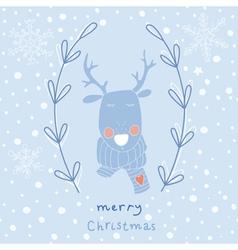 Reindeer christmas greeting card vector