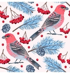 Seamless birds and spruce vector image