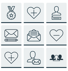 Set of 9 social icons includes chatting person vector