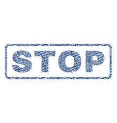 stop textile stamp vector image vector image
