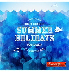 Summer design Poster for summer holidays Hexagon vector image