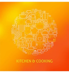 Thin Line Cooking Utensils and Kitchenware Icons vector image
