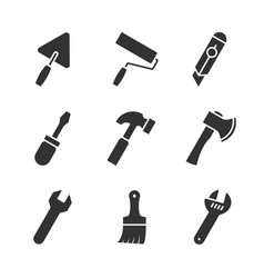 tools black icons vector image vector image