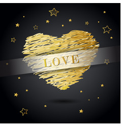 Valentine heart created from golden lines with vector