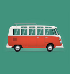 Vintage classic bus cartoon styled vector