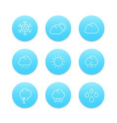 weather line icons rain hail wind sun snow vector image vector image
