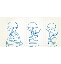 Comic picture of walking soldiers vector