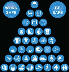 Cyan pyramid health and safety icon collection vector