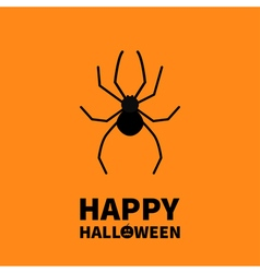 Cute cartoon black spider insect happy halloween vector
