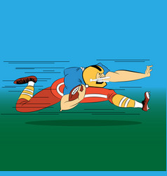 cartoon football player running with the ball in vector image