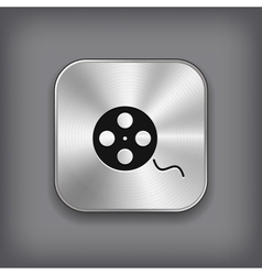 Film roll icon - metal app button vector image