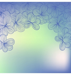 Border with abstract hand-drawn floral pattern vector