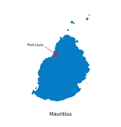 Detailed map of mauritius and capital city port vector