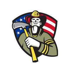 American fireman firefighter emergency worker vector