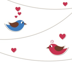 Two lovely birds with strings of buntings isolated vector