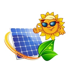 Cartoon sun in front of solar panel vector
