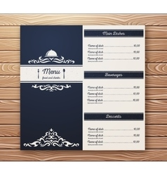 Restaurant or cafe menu template retro vector image