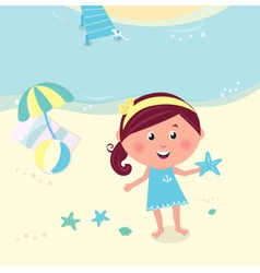 Happy smiling girl on beach vector