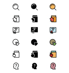 Education outline filled and colored icons 7 vector