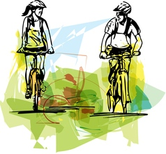 Couple taking a ride on a bicicle vector