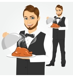 Waiter with tray serving roasted poultry vector