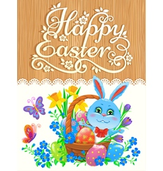 Wooden banner with bunny easter vector