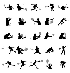 Tennis player silhouette set vector image