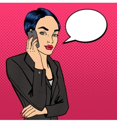 Business lady talking on the phone pop art vector
