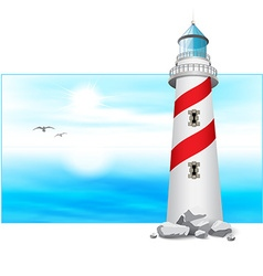 Lighthouse tower landscape panorama vector