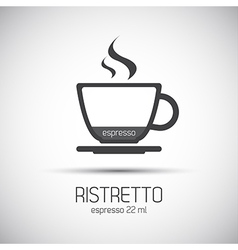 Cup of espresso ristretto simple icons vector