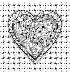 Black and white heart pattern vector