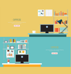 Business office interior style vector