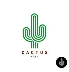 Cactus logo parallel rounded lines style vector