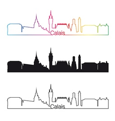 Calais skyline linear style with rainbow vector image vector image