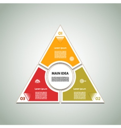 Cyclic diagram with three steps and icons eps 10 vector image vector image
