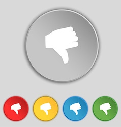 Dislike thumb down icon sign symbol on five flat vector
